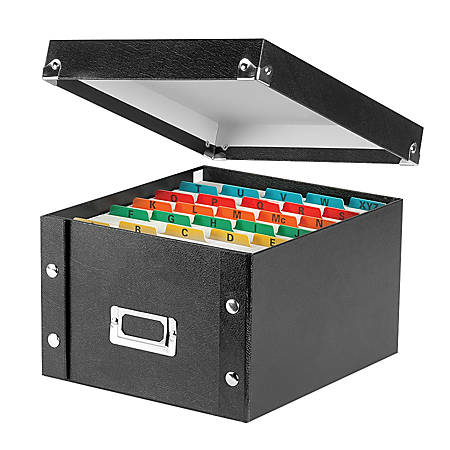"Snap-N-Store® 50% Recycled Index Card File Box, 5"" x 8"", Black"