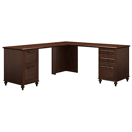 kathy ireland® Office by Bush Furniture Volcano Dusk L-Shaped Desk With 2 Pedestals, Coastal Cherry, Standard Delivery