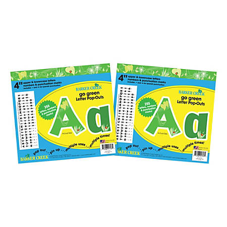 """Barker Creek Letter Pop-Outs, 4"""", Go Green, Pack Of 510"""