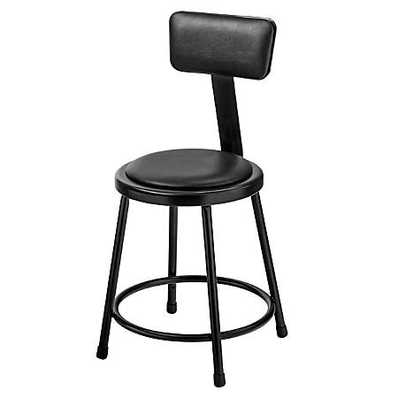 "National Public Seating 6400 Vinyl Stool With Back, 18"", Black"