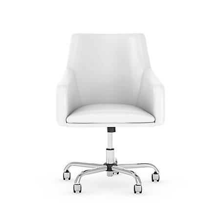 Bush Business Furniture London Mid-Back Leather Box Chair, White, Standard Delivery