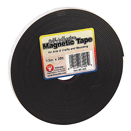 """Hygloss Magnetic Tape Strips, 0.5"""" x 8.33 Yd., Black, Pack Of 3"""