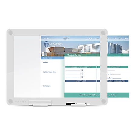 "WorkPro™ Custom Print Glass Dry-Erase Presentation Board, 24-1/2"" x 18-1/2"", White"