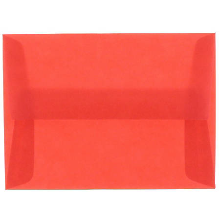 "JAM Paper® Translucent Envelopes With Moisture Seal Closure, #4 Bar (A1), 3 5/8"" x 5 1/8"", Primary Red, Pack Of 25"