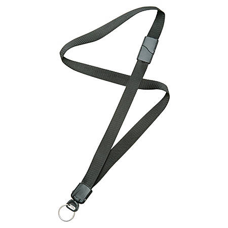 """SKILCRAFT® Deluxe Lanyard With Key Ring, 36"""", Black, Pack Of 12 (AbilityOne 8455-01-613-0196)"""
