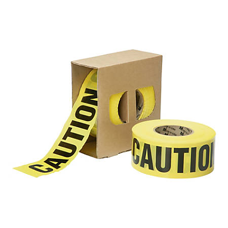"SKILCRAFT® Non-Adhesive ""Caution"" Barricade Tape, 3"" x 1000', Yellow/Black (AbilityOne 9905-01-613-4243)"