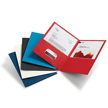 Office Depot® Brand Leatherette Twin-Pocket Portfolios, Assorted Colors, Pack Of 10