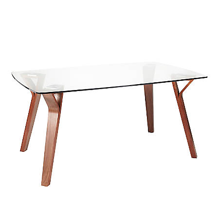 "LumiSource Folia Dining Table, 30-1/2""H x 38""W x 63-1/4""D, Walnut/Clear"