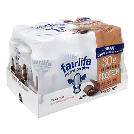 FAIRLIFE High-Protein Chocolate Nutrition Shakes, 11.5 Oz, Pack Of 12 Shakes