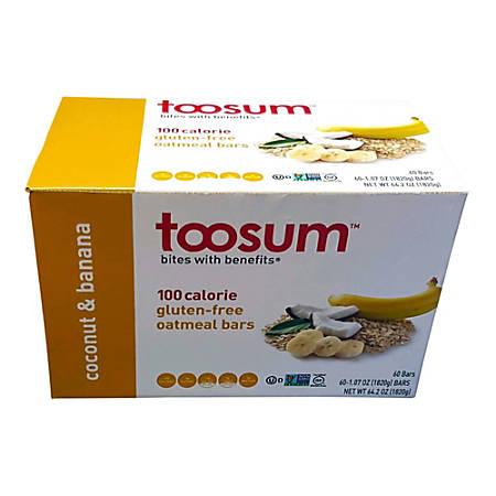 Toosum Healthy Foods Oatmeal Bars, Coconut and Banana, 1.07 Oz, Pack Of 120 Bars