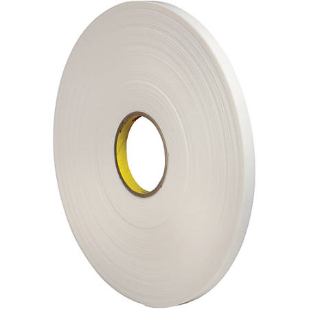 "3M™ Double-Sided Foam Tape, 3"" Core, 1/2"" x 72 Yd., White"