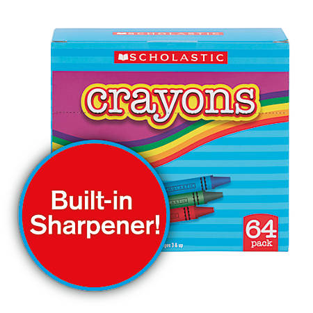 Scholastic Standard Crayons, Assorted Colors, Pack Of 64
