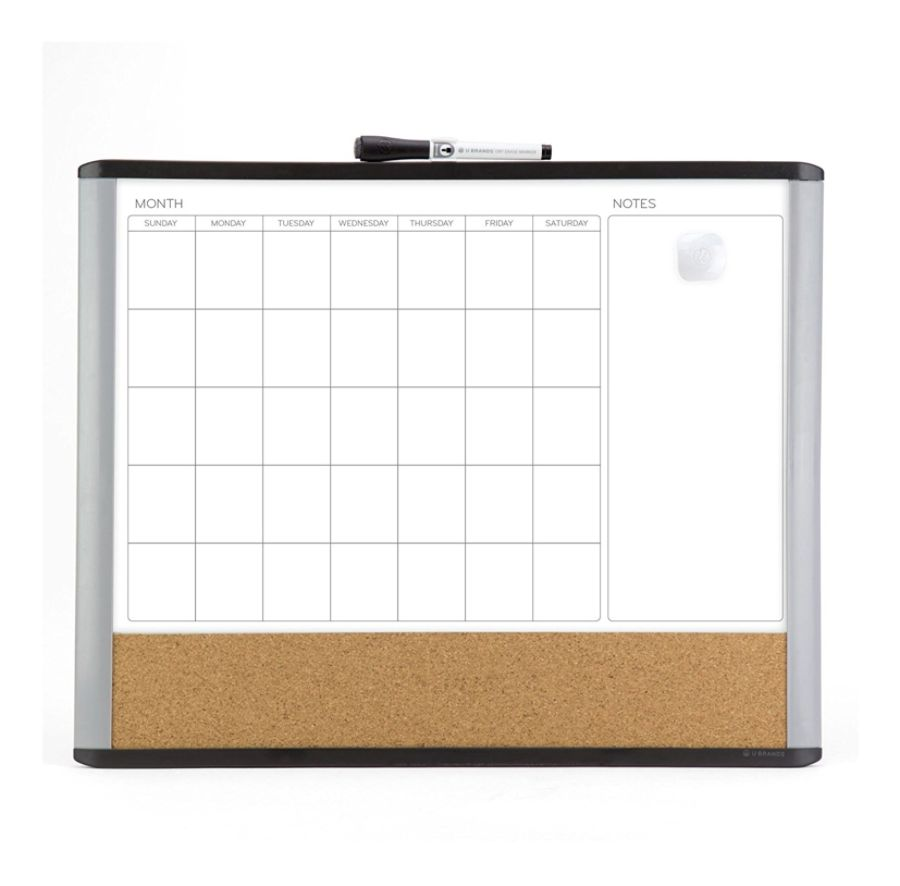 U Brands Magnetic Mod 3 In 1 Magnetic Dry Erase Calendar Board