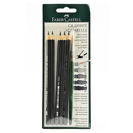 Faber-Castell Graphite Aquarelle Water-Soluble Pencil Sets, 5 Pencils Per Set, Pack Of 2 Sets