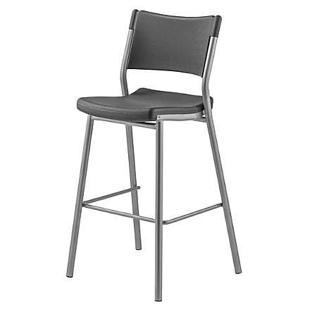 National Public Seating Café Time Barstool, Charcoal Slate/Silver