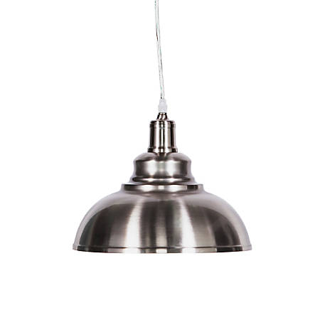 "Southern Enterprises Morova LED Bell Pendant Lamp, 8-1/2""H, Brushed Nickel"