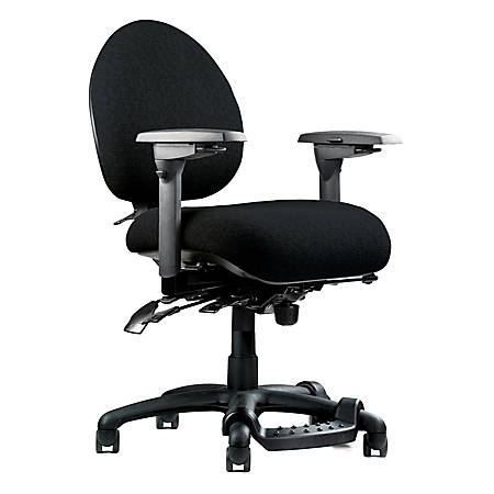 """Neutral Posture® 5500 Mid-Back Fabric Chair With Fring™ Footrest, 38""""H x 26""""W x 26""""D, Black Frame, Black Fabric"""