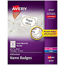 Avery Adhesive Name Badges Metallic Borders