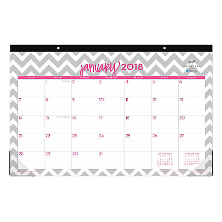 "Dabney Lee for Blue Sky™ Monthly Desk Pad Calendar, 17"" x 11"", Gray Ollie, January to December 2018 (102138)"