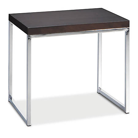 Ave Six® Wall Street End Table, Chrome/Espresso