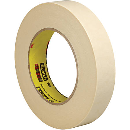 "3M™ 202 Masking Tape, 3"" Core, 1"" x 180', Natural, Pack Of 6"