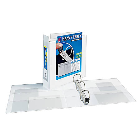 """Avery® Extra-Wide Heavy-Duty View Binder With One-Touch EZD™ Rings, 8 1/2"""" x 11"""", 2"""" Rings, 40% Recycled, White"""
