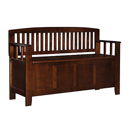 Linon Home Decor Products Jude Storage Bench, Walnut
