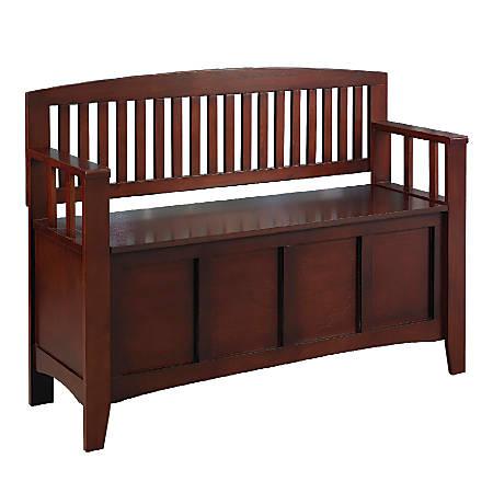 """Linon Home Décor Cynthia Storage Bench, 32""""H x 50""""W x 17 1/4""""D, Walnut"""