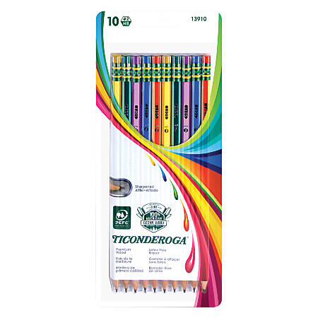 Ticonderoga® Striped Wood Pencils, #2 Soft Lead, Assorted Colors, Pack Of 10
