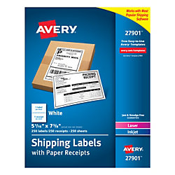 "Avery® Shipping Labels With Paper Receipts, 27901, 5 1/16"" x 7 5/8"", White, Pack Of 250"
