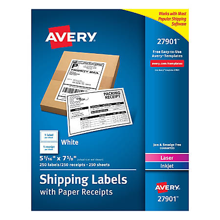 """Avery® Shipping Labels With Paper Receipts, 27901, 5 1/16"""" x 7 5/8"""", White, Pack Of 250"""