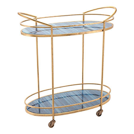 Zuo Modern Zaphire 2-Shelf Steel Bar Cart, Blue/Antique Gold