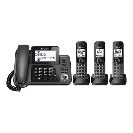 Panasonic® Link2Cell Bluetooth® DECT 6.0 Corded/Cordless Phone System With Answering Machine And 4 Handsets, KX-TGF383M