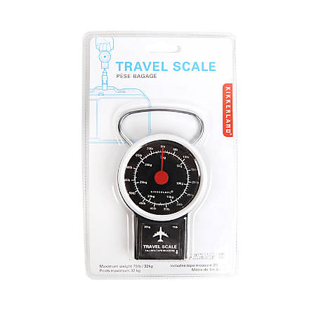 "Kikkerland Design Inc. Travel Luggage Scale, 7 1/2""H x 3 3/16""W x 1 5/16""D, Black"