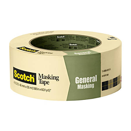 """Scotch® Greener Masking Tape For Basic Painting, 3"""" Core, 2"""" x 60 Yd., Pistachio"""