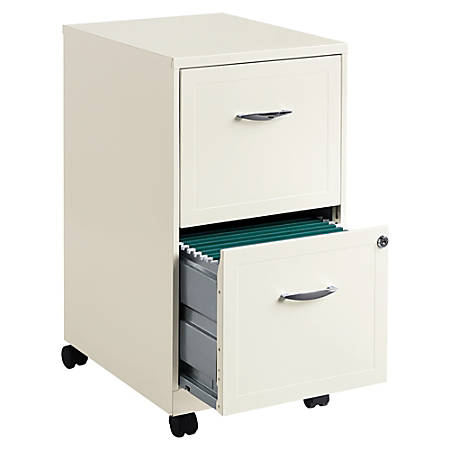 """Lorell® 18""""D 2-Drawer Mobile Steel Letter-Size Vertical File Cabinet, Pearl White"""
