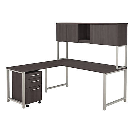 """Bush Business Furniture 400 Series 72""""W x 30""""D L Shaped Desk with Hutch, 42""""W Return and 3 Drawer Mobile File Cabinet, Storm Gray, Premium Installation"""