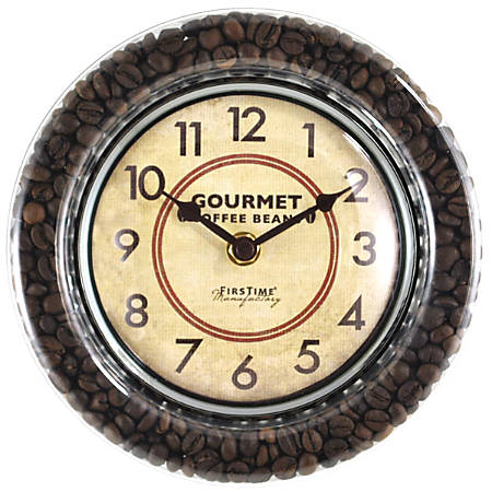 "FirsTime® Gourmet Café Coffee Bean Round Wall Clock, 7 1/2"", Brown/Silver"