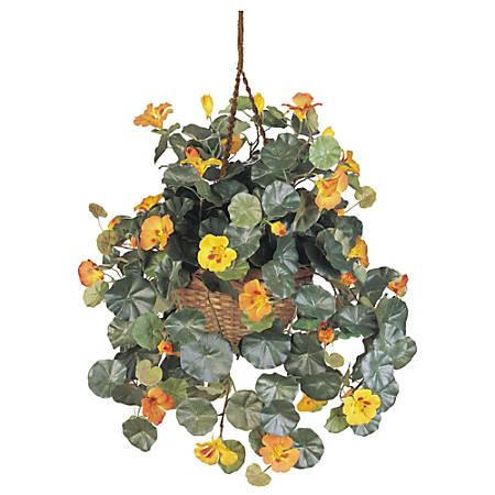 "Nearly Natural 22""H Silk Nasturtium With Hanging Basket, Gold"