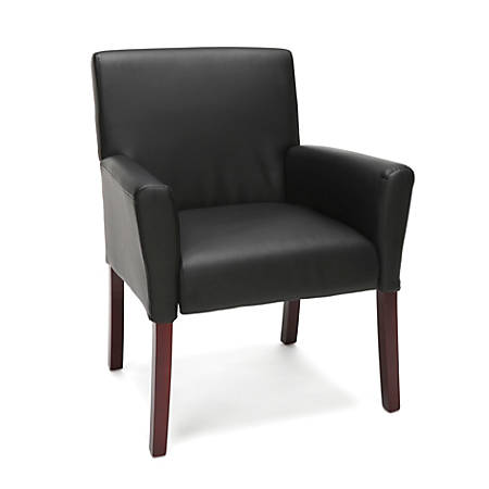 Essentials By OFM Armed Guest Chair, Black/Black