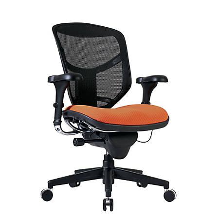 WorkPro® Quantum 9000 Series Ergonomic Mid-Back Mesh/Fabric Chair, Black/Tangerine