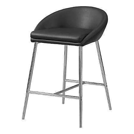 Monarch Specialties Counter-Height Bar Stools, Black/Chrome, Pack Of 2 Stools