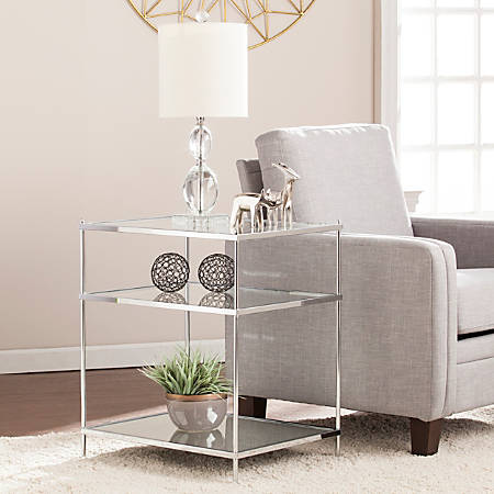 Southern Enterprises Knox Glam Mirrored Side Table