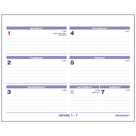"AT-A-GLANCE® QuickNotes® Flip-A-Week Weekly Refill, 7"" x 5 5/8"", January to December 2019"
