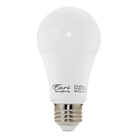 Euri A19 3000 Series LED Light Bulbs, Dimmable, 800 Lumens, 9 Watt, 4000K/Cool White, Pack Of 4 Bulbs