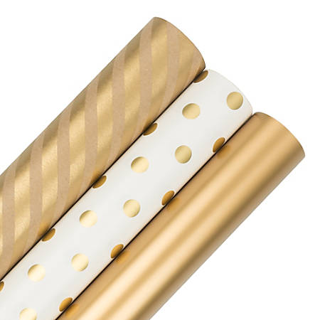 JAM Paper® Wrapping Paper, Gold Assortment, 25 Sq Ft, Pack of 3 Rolls