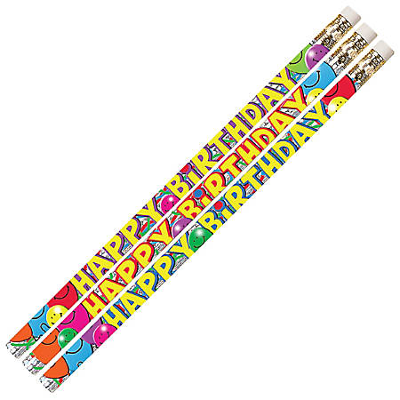 Musgrave Pencil Co. Motivational Pencils, 2.11 mm, #2 Lead, Birthday Bash, Multicolor, Pack Of 144