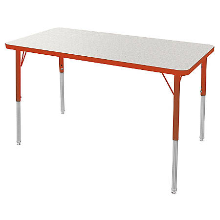"""Marco Group 24"""" x 48"""" Activity Table, Rectangular, 21 - 30""""H, Gray Glace/Red"""