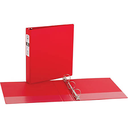 """Avery® Economy Binders With Round Rings, 8 1/2"""" x 11"""", 1 1/2"""" Rings, 42% Recycled, Red"""
