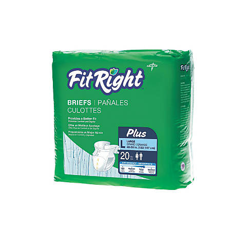 "FitRight Plus Disposable Briefs, Large, 48 - 58"", Blue, Bag Of 20"